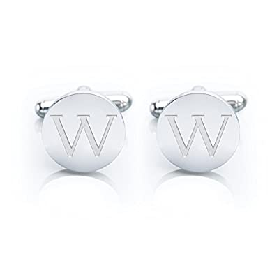 Men's 18K White Gold-Plated Engraved Initial Cufflinks with Gift Box– Premium Quality Personalized Alphabet Letter