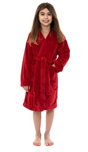 (TowelSelections Big Girls' Robe, Kids Plush Kimono Fleece Bathrobe Size 12 Rococco Red )
