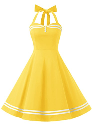 Find Dress Women 50s Vintage Short Halter Cocktail Dress with Buttons 10387 Yellow ()