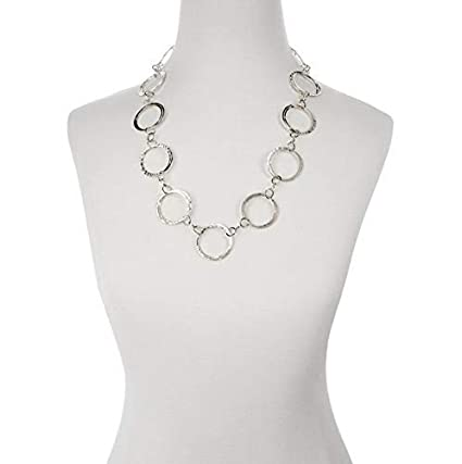 Sterling Silver Fancy Round Link Necklace