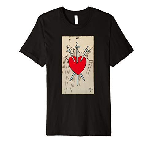 Three of Swords Vintage Tarot Card Heart  Premium T-Shirt