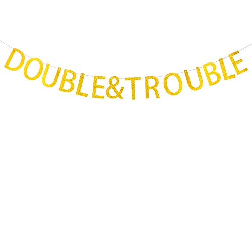 Double& Trouble banner for twins' baby shower,birthday party