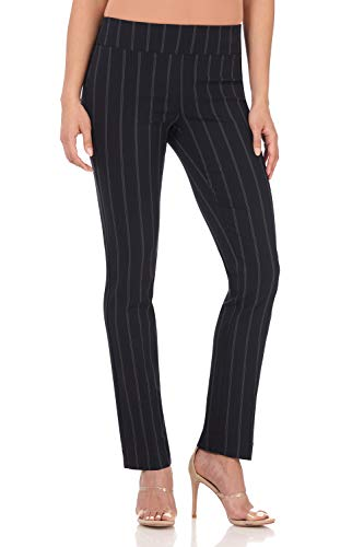 Dress Navy Blue Pants Slacks (Rekucci Women's Ease in to Comfort Straight Leg Pant with Tummy Control (4,Navy Stripe))