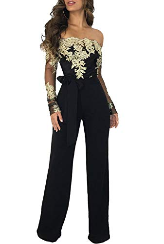 Ophestin Women Sexy Off Shoulder Floral Lace Long Sleeve Bodycon Wide Leg Jumpsuits Rompers with Belt Gold M