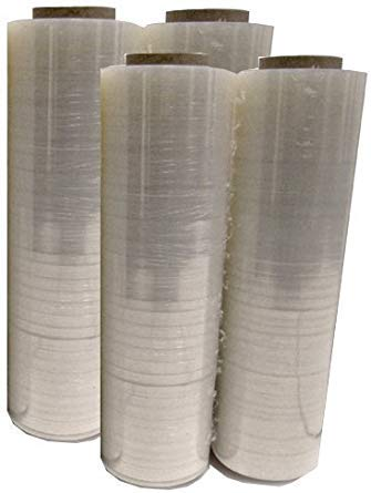 Mega Big Box Four (4) Plastic Shrink Stretch Wrap 80 Gauge 4 Rolls Pallet Wrap Stretch Film Hand Shrink Wrap 1476 sq ft 445mm x 450m,