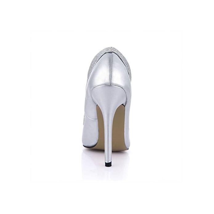 Kukie Best 4u® Sandali Da Donna Primavera Estate Glitter Punta A 12cm Tacchi Alti In Metallo Suola Gomma Scarpe Spillo Argento