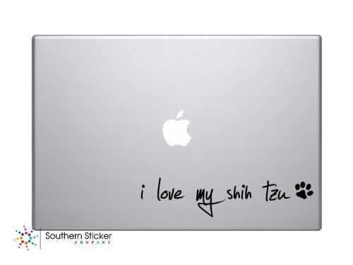 I Love My Shih Tzu Text Black Symbol Dog heart paw bone Puppy Love Iphone Silhouette Decal Humor Macbook Symbol Iphone Disney Apple Ipad Decal Skin Sticker Laptop (Shih Bone Tzu)