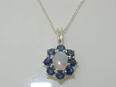 Ladies Solid 925 Sterling Silver Ornate Large Natural Fiery Opal and Sapphire Cluster Pendant Necklace