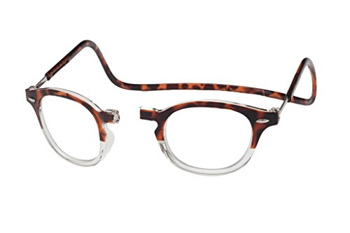 CliC Vintage Magnetic Closure Reading Glasses (2.00 Lens, Two-tone ()