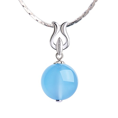iSTONE Natural Gemstone Blue Chalcedony Round Bead 925 Sterling Silver Pendant Necklace