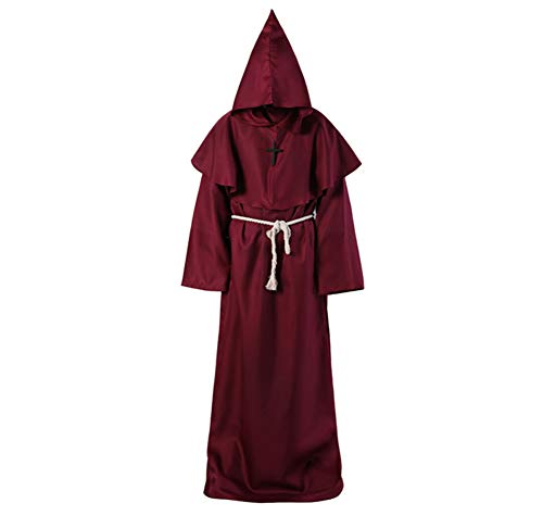 Medieval Monk Hooded Robe Renaissance Priest Robe Cape