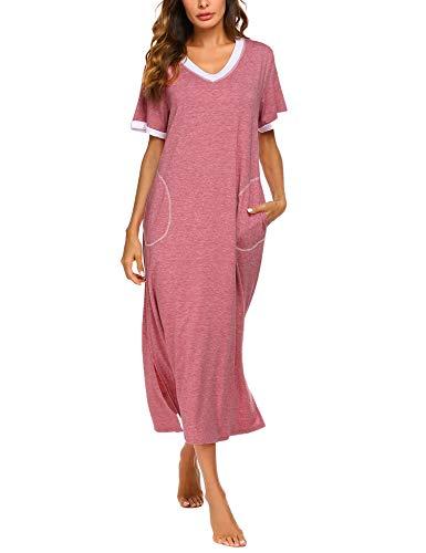 ADOME Nachthemd Baumwolle Nachtkleid Sommer still Pyjama lang Nachtwäsche Negligee Sleepshirt Schlafkleid V-Ausschnitt XXL, 6619_rot
