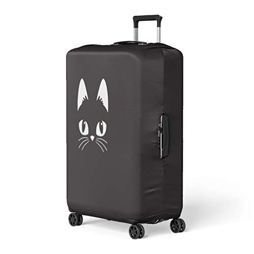 Pinbeam Luggage Cover Face Simple Cartoon Cat on Halloween Head Black Travel Suitcase Cover Protector Baggage Case Fits 18-22 inches