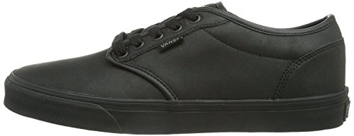 Vans Atwood Negro Hombres Cuero Skate Trainers Zapatos
