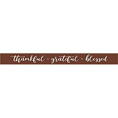 Country Marketplaces Thankful ~ Grateful ~ Blessed 36in Wooden Sign (Burgundy)