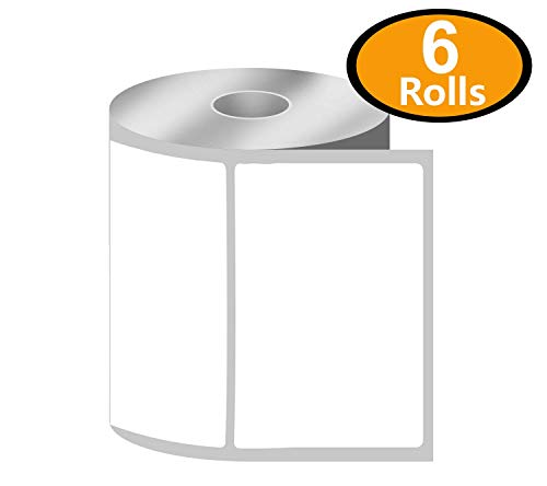 [6 Rolls, 500/Roll] 4 x 3 Direct Thermal Zebra/Eltron Compatible Labels - Premium Resolution & Adhesive