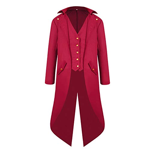 k Tailcoat Jacket Gothic Victorian Frock Coat Tuxedo Uniform Halloween Costume (XXXL, Red) ()