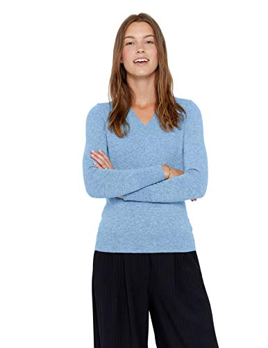 State Cashmere Essential V-Neck Sweater 100% Pure Cashmere Long Sleeve Pullover for Women (Baby Blue, Medium)