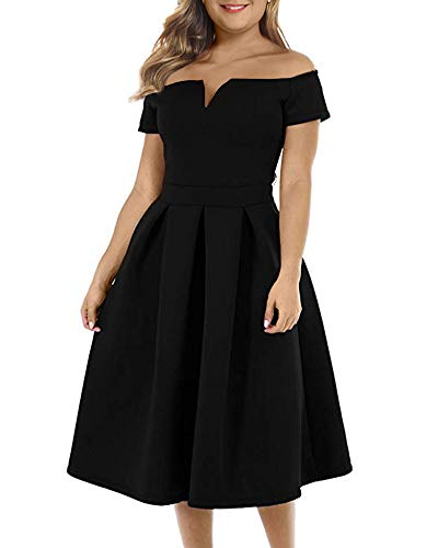LALAGEN Women's Vintage 1950s Party Cocktail Wedding Swing Midi Dress Black XXXL