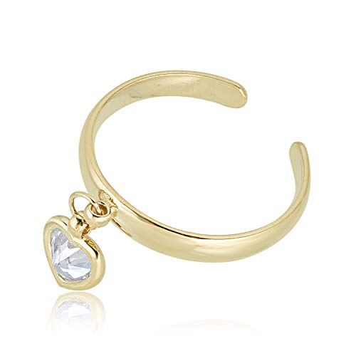 10K Yellow Gold Adjustable Dangle Heart Toe Ring with Simulated Diamond CZ