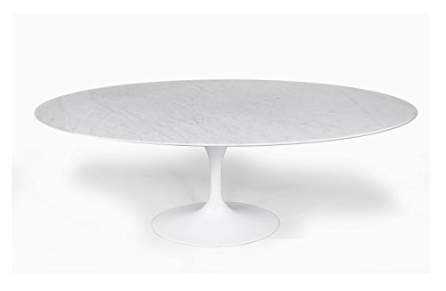 ModHaus Living Mid Century Modern Tulip Style Oval 67 x 43 Carrara Marble Dining Table – Includes R Pen