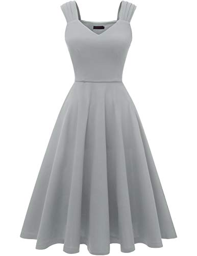 DRESSTELLS Women's Bridesmaid Vintage Tea Dress V-Neck Homecoming Party Swing Cocktail Dress Grey M