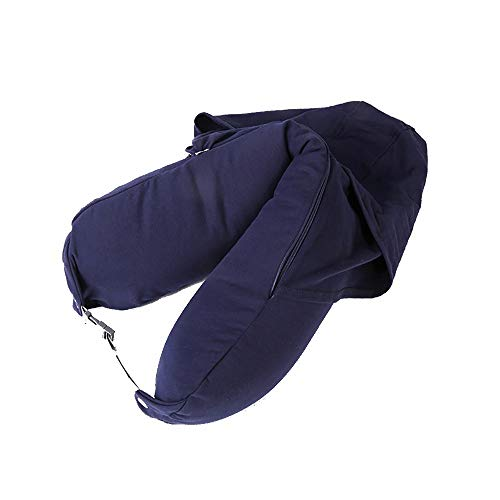 - YLYP U-Shaped Convertible Travel Neck Pillow for Airplane,Supports The Head,Neck and Chin,Adjustable&Washable, with Hoop Cap (Color : Blue)