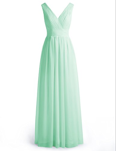 Wedtrend Women's Long Chiffon Prom Dress Double V-neck Bridesmaid Dress WT12003 Mint 24W