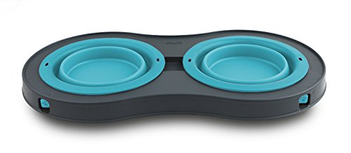 Dexas Popware for Pets Double Elevated Pet Feeder, Small, Gray/Blue by Dexas (Image #2)