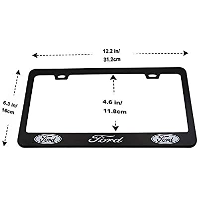 2 Pieces of Ford Luxury Car Matte Black Aluminum Alloy License Plate Frame, Suitable for American Standard Cars License Plate Ford Vehicles: Automotive
