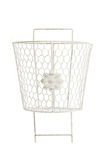 (Metal Wall Pocket Basket with Flower Decal, 8