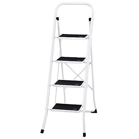 Awe Inspiring Ollieroo Ladder En131 Steel Folding 4 Step Stool With Grip Handle Anti Slip Step Mon Marring Feet 330 Pound Capacity White Ncnpc Chair Design For Home Ncnpcorg
