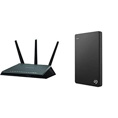 NETGEAR Nighthawk AC1900 Dual Band Wi-Fi Gigabit Router (R7000) and Seagate Backup Plus Slim 1TB Portable External Hard Drive with 200GB of Cloud Storage & Mobile Device Backup USB 3.0 (STDR1000100) - Black