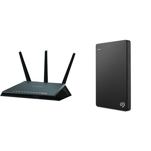 NETGEAR Nighthawk AC1900 Dual Band Wi-Fi Gigabit Router (R7000) and Seagate Backup Plus Slim 1TB Portable External Hard Drive with 200GB of Cloud Storage & Mobile Device Backup USB 3.0 (STDR1000100) - Black
