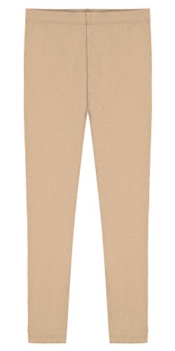 Cotton Stretch Khakis (Popular Big Girl's Cotton Ankle Length Leggings - Khaki - 12)