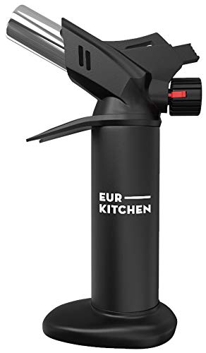 EurKitchen Culinary Butane Torch for Cooking - Refillable Food Blow Torch To Perfectly Sear Steak, Fish or Finish Creme Brulee - Kitchen Lighter Tool with Finger Guard - Fuel Not Included