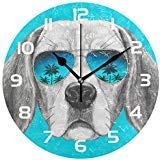 Dozili Animal Dog Decorative Wooden Round Wall Clock Arabic Numerals Design Non Ticking Wall Clock Large for Bedrooms, Living Room, Bathroom