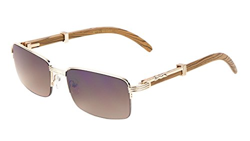 Executive Slim Half Rim Rectangular Metal & Wood Aviator Sunglasses (Rose Gold & Light Brown Wood, - Aviator Half Sunglasses Frame