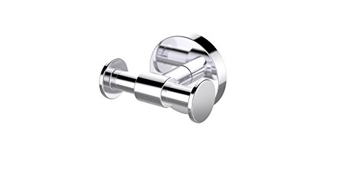 Eviva EVAC32CH Twin Bullet Towel or Robe Hook ROUND Design (Chrome) Bathroom Accessories Combination by Eviva