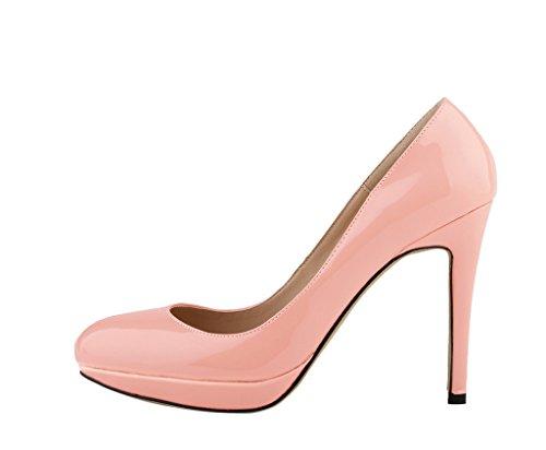 klassische On Kleid Slip PU Gericht Heel Mode New Pink runde Zehe Frauen Stiletto Patent Pumps High fdCwn4qfx