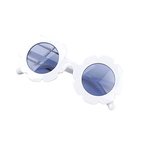 Stylish Round Flower Sunglasses Anti-UV Party Photography Outdoor Beach Colorful Eyewear for Unisex Baby Kids Children (White) (Flower Shaped Sunglasses)