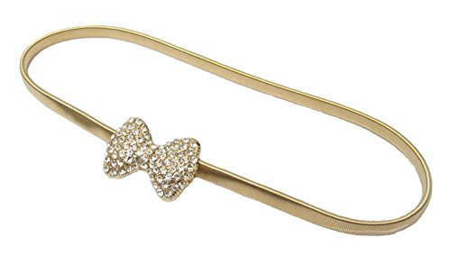 BAIMIL Women's Bow-knot Rhinestone Metal Waist Chain Belt Crony Thin Gold