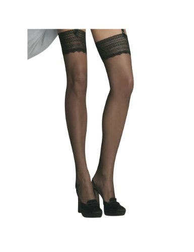 Omero Atena 15   An Ultra Luxurious Silky Smooth Stocking With 4 5  Intricate Lace Band   Imported From Italy  Black  Small