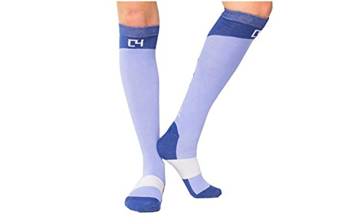C4 Equestrian Horse Riding & Tall Boot Over the Calf Knee High Socks for Women (Baby Blue)