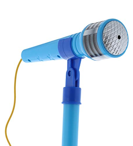 Mozlly Blue Light Up Karaoke Machine with Toy Microphone & Adjustable Stand, Connect to MP3 Player AUX Smart Phones for Solo Singing Parties Sing-A-Along Built in Speaker Flashing Lights for Kids by Mozlly (Image #9)