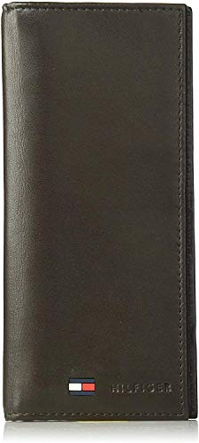Tommy Hilfiger Leather Secretary Wallet - Slim Long Multipurpose Versatile Vertical Bifold Checkbook Cover, Brown