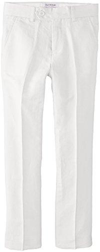 Isaac Mizrahi Big Boys' Slim Boys Linen Pant, White, 14