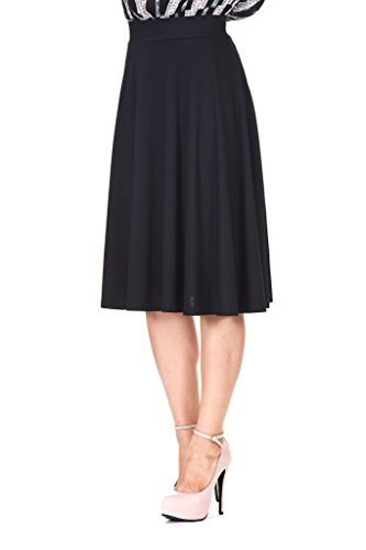 Beautiful flowing A-line Flared Swing Midi Skirt (L, Black) A-line Elastic Waist Skirt
