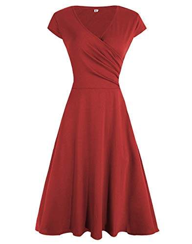 Akivide Women Summer V Neck Capped Sleeve Wrap Dresses Wine Red XXL ()