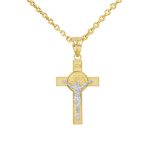 Solid 14k Two-Tone Gold St. Benedict Crucifix Cross Pendant Necklace (1.10